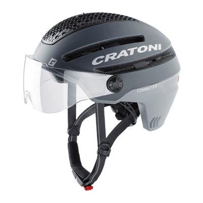 Cratoni Commuter grey mat - Pedelec Helmet with Visor, led licht & Reflectors