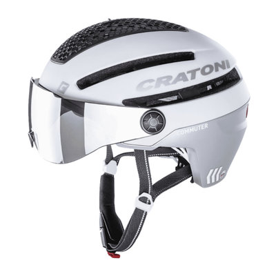 Cratoni Commuter white mat - Pedelec Helm with visor, led light & Reflectors
