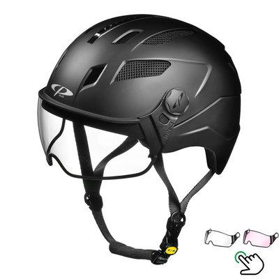 CP Chimayo+ Black - Trendy pedelec helmet / E-bike helmet - Choose your Visor - Clear or Vario