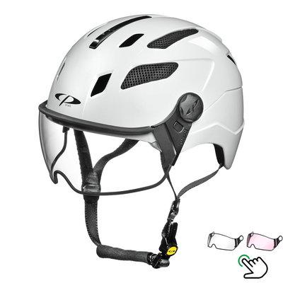 CP Chimayo+ white - Trendy pedelec helmet / E-bike helmet - Choose your Visor - Clear or Vario