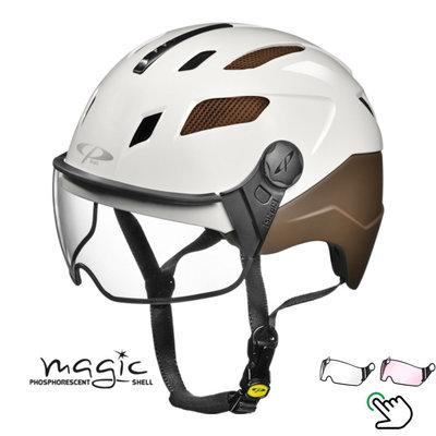 CP Chimayo+ brown-white - Pedelec helmet / e-bike helmet fluorescent in the dark! - Choice your visor