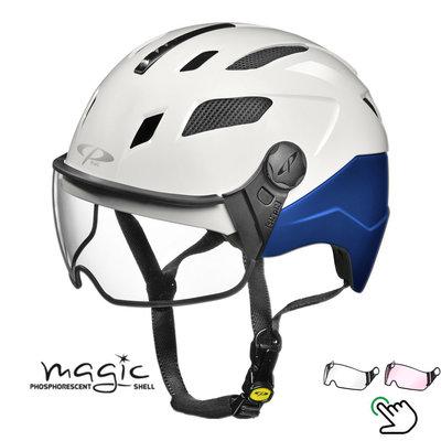 CP Chimayo+ blue-white - Pedelec helmet / e-bike helmet fluorescent in the dark! - Choice your visor