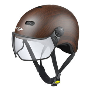 cp270310-carachillo e bike helm cubic wood - beste fietshelm met vizier voor brildragers